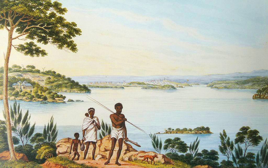 Joseph Lycett's painting of Natives and the North Shore of Sydney Harbour