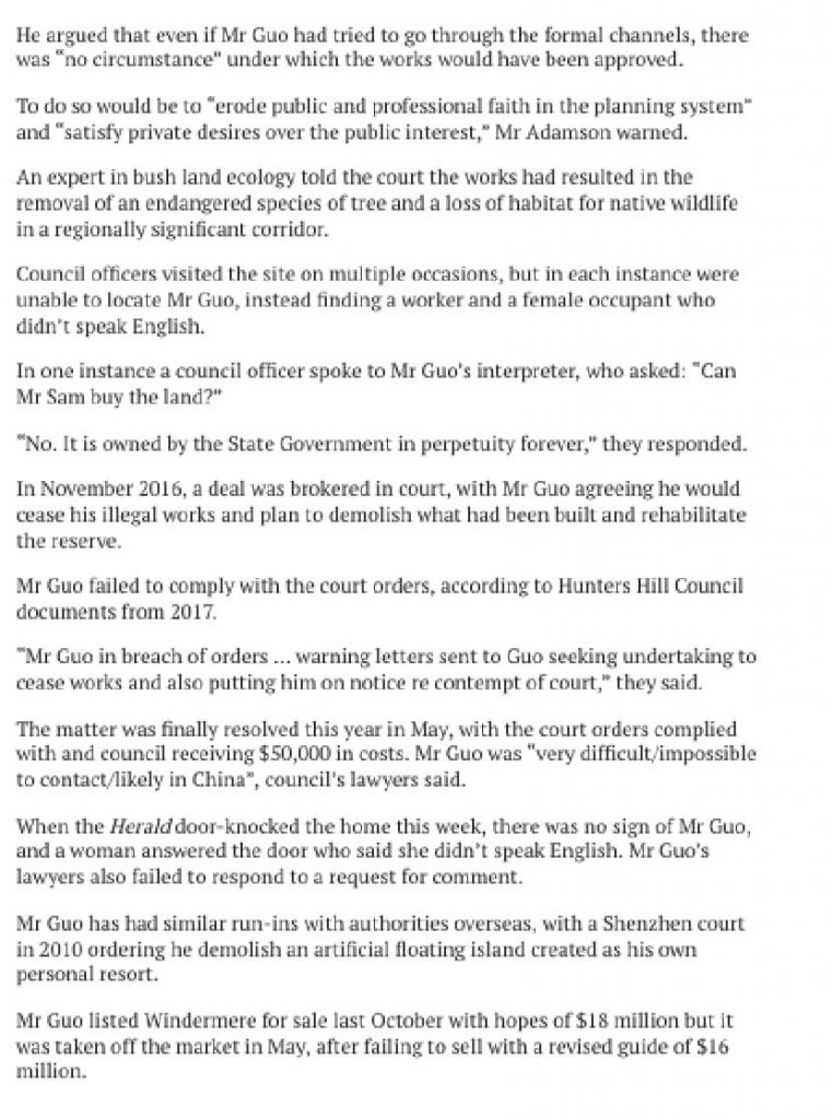 """Newspaper Extract from The Sydney Morning Herald Article ''Chinese Gatsby' Billionaire Built Bar in Hunters Hill Aboriginal Rock Cave"""" from November 2019"""
