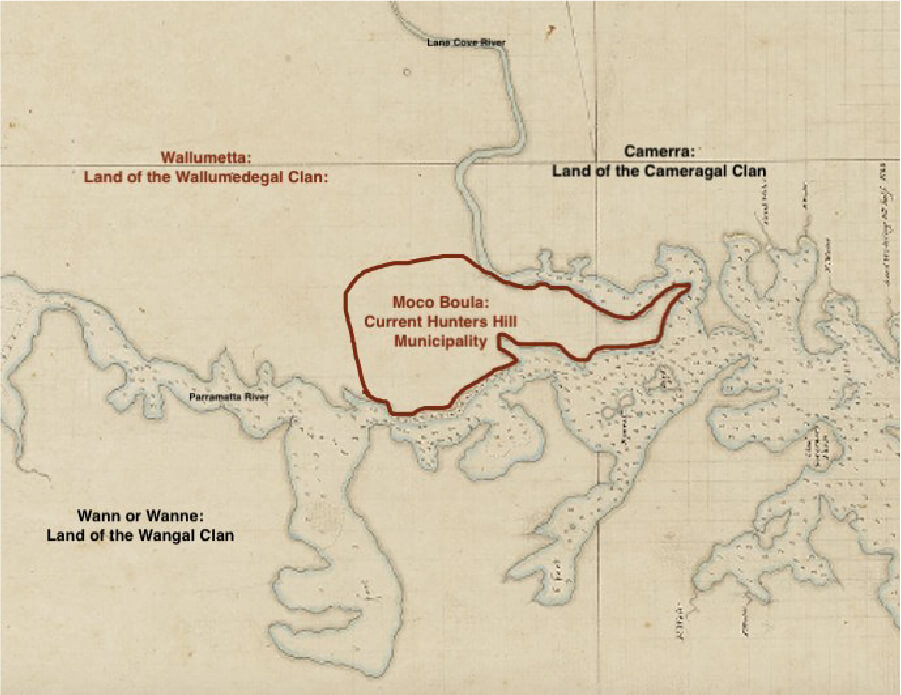 Boundaries of the Wallumedegal Clan superimposed on Chart of Port Jackson by Captain John Hunter, February 1788.