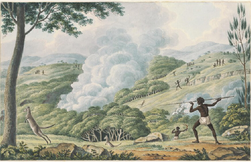 Aborigines Using Fire to Hunt Kangaroos by Joseph Lycett c.1817, housed in the National Library of Australia.