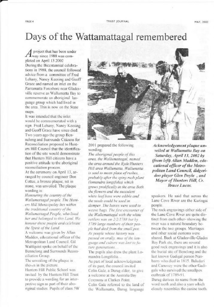 Journal Article from Hunters Hill Trust Journal, 1 May 2002.