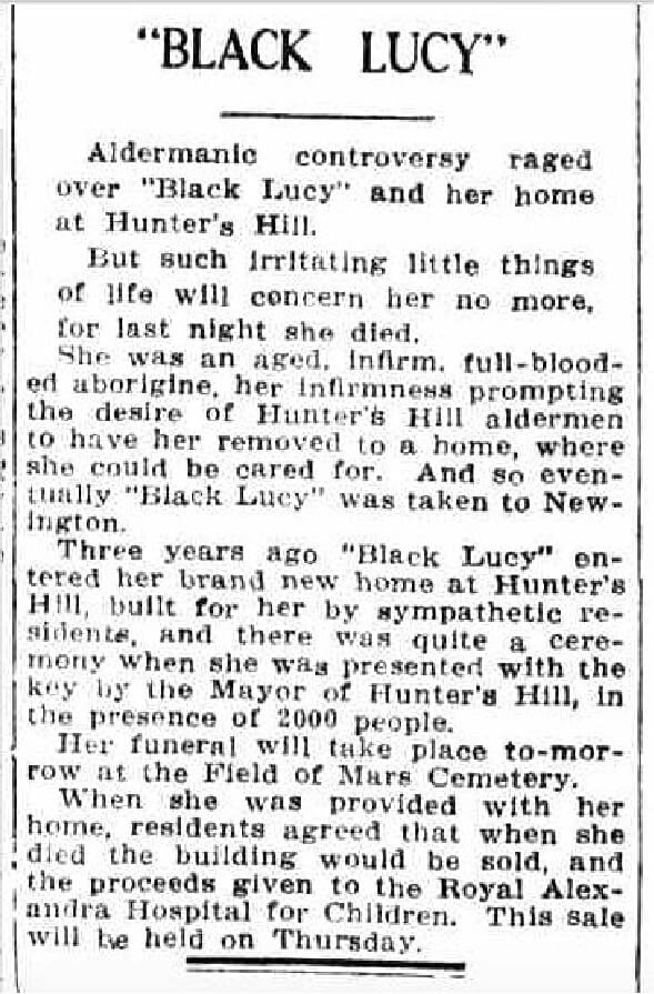 """Obituary of """"Black Lucy"""" in The Sun on Monday 10 September 1928."""