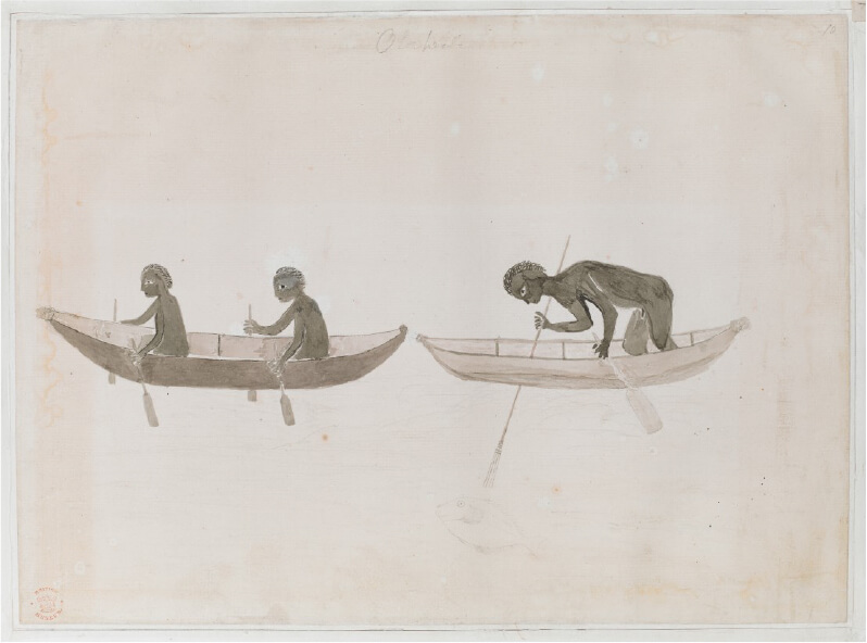 Indigenous Australians in Bark Canoes, Drawing by Tupaia, April 1770, housed in British Library.